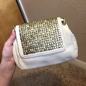 Gold and white clutch crossbody